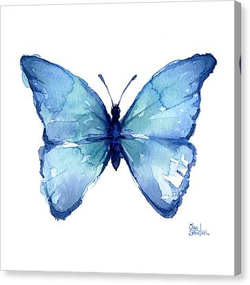 Blue Butterfly Watercolor Canvas Print by Olga Shvartsur