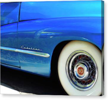 Blue Cadillac - Classic Car Canvas Print by Ann Powell