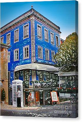 Canvas Print featuring the photograph Blue Cafe On The Corner by Sue Melvin