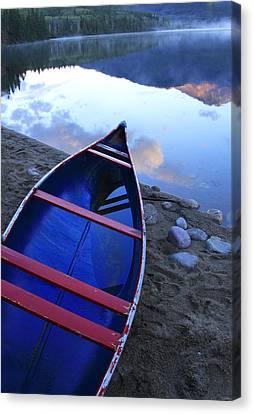 Blue Canoe Canvas Print by Catherine Alfidi