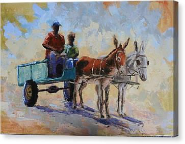 Blue Cart Canvas Print by Yvonne Ankerman