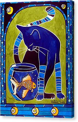 Blue Cat With Goldfish Canvas Print by Dora Hathazi Mendes