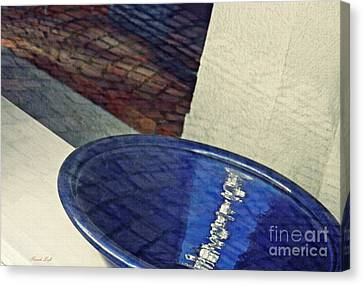 Ceramic Bowl Canvas Print - Blue Ceramic Bowl In Eltville 1 by Sarah Loft