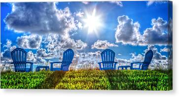 Adirondack Chairs On The Beach Canvas Print - Blue Chairs On The Dunes by Debra and Dave Vanderlaan