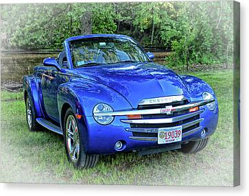 Blue Chevy Super Sport Roadster Canvas Print by Mike Martin