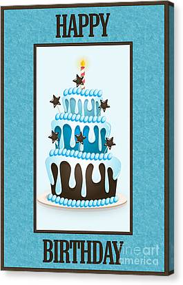 Canvas Print featuring the digital art Blue Choco Birthday Cake by JH Designs