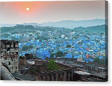 Blue City At Sunset Canvas Print by Massimo Calmonte (www.massimocalmonte.it)