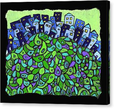 Blue City On A Hill Canvas Print by Wayne Potrafka