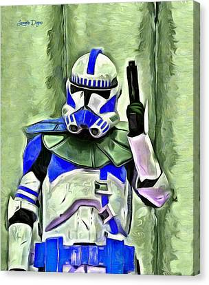 Blue Commander Stormtrooper At Work - Pa Canvas Print by Leonardo Digenio
