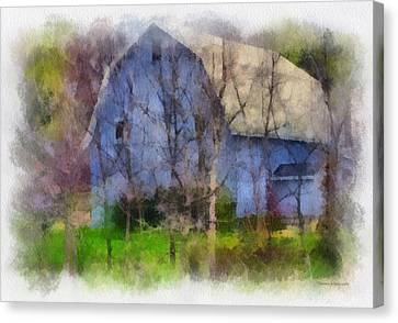 Blue Country Barn Pa 01 Canvas Print by Thomas Woolworth