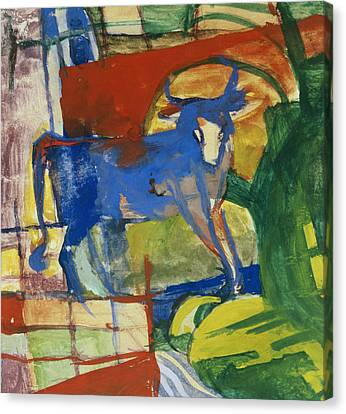Blue Cow Canvas Print by Franz Marc