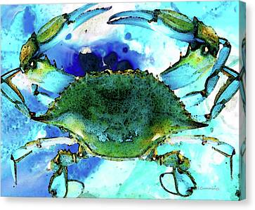 Blue Crab - Abstract Seafood Painting Canvas Print by Sharon Cummings