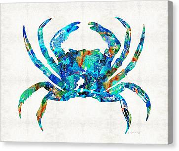 Blue Crab Art By Sharon Cummings Canvas Print by Sharon Cummings