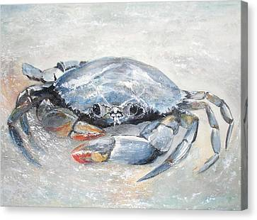 Canvas Print featuring the painting Blue Crab by Sibby S