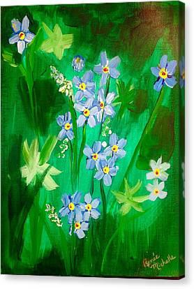 Blue Crocus Flowers Canvas Print