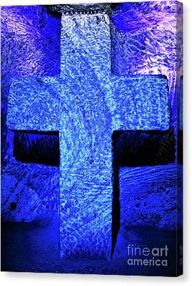 Blue Cross Of Zipaquira Canvas Print by John Rizzuto