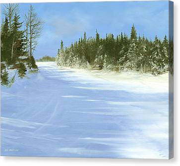 Canvas Print featuring the painting Blue Cruiser by Ken Ahlering