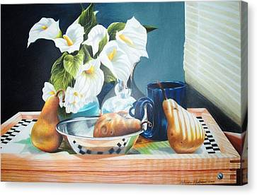 Blue Cup And Pear 3 Canvas Print by Sylvester Hickmon