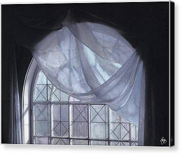 Canvas Print featuring the photograph Hand-painted Blue Curtain In An Arch Window by Wayne King
