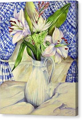 Canvas Print featuring the painting Blue Curtains by Nadine Dennis