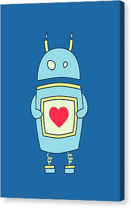 Blue Cute Clumsy Robot With Heart Canvas Print by Boriana Giormova