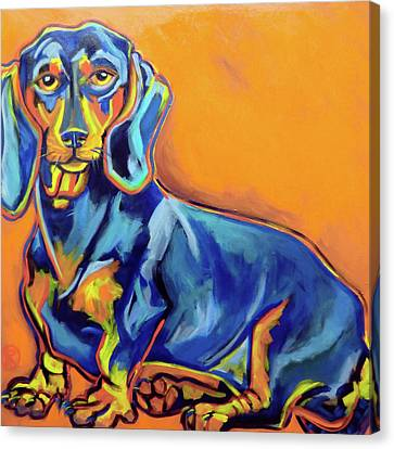 Blue Dachshund Canvas Print by Ilene Richard