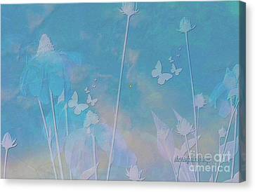 Blue Daisies And Butterflies Canvas Print by Sherri's Of Palm Springs