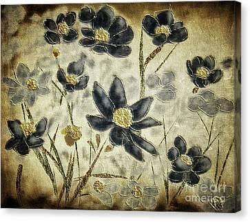 Canvas Print featuring the digital art Blue Daisies by Lois Bryan