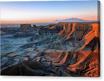 Canvas Print featuring the photograph Blue Dawn In The Cainville Badlands. by Johnny Adolphson