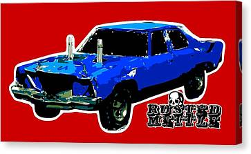Blue Demo Derby Car Canvas Print by George Randolph Miller