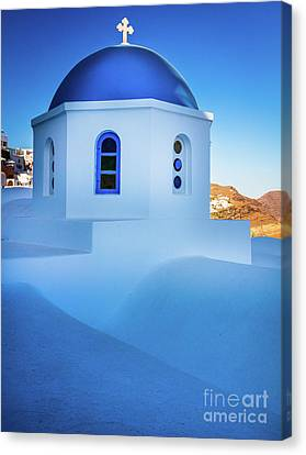 Thira Canvas Print - Blue Domed Chapel by Inge Johnsson