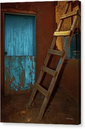 Blue Door And Ladder - Taos Pueblo Canvas Print by Tim Bryan