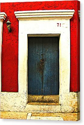 Blue Door By Michael Fitzpatrick Canvas Print by Mexicolors Art Photography
