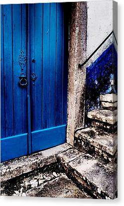 Canvas Print featuring the photograph Blue Door by Dora Hathazi Mendes