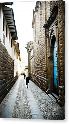 Blue Door In Cusco Canvas Print by Darcy Michaelchuk