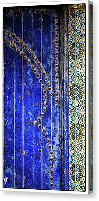 Canvas Print featuring the photograph Blue Door In Marrakech by Marion McCristall