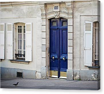 Canvas Print featuring the photograph Blue Door - Paris, France by Melanie Alexandra Price