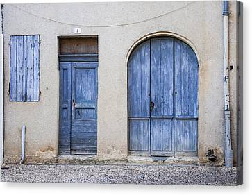 Blue Door Trio Canvas Print by Georgia Fowler