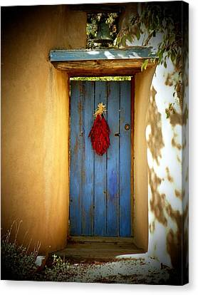 Blue Door With Chiles Canvas Print