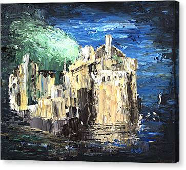 Pallet Knife Canvas Print - Blue Dreams Of Scotland Eilean Donan Inverness-shire by Shelly Tschupp