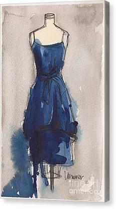 Loose Watercolor Canvas Print - Blue Dress II by Lauren Maurer
