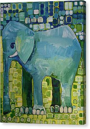 Canvas Print featuring the painting Blue Elephant by Donna Howard