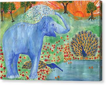 Blue Elephant Squirting Water Canvas Print by Sushila Burgess