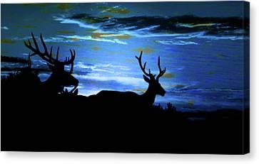 Blue Elk Dreamscape Canvas Print by Mike Breau