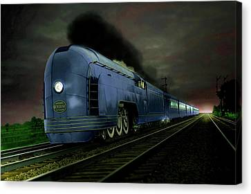 Blue Express Canvas Print by Steven Agius