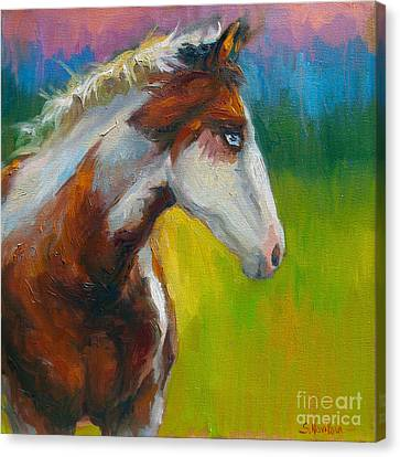 Blue-eyed Paint Horse Oil Painting Print Canvas Print by Svetlana Novikova