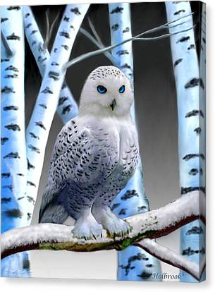 Blue-eyed Snow Owl Canvas Print by Glenn Holbrook