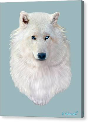 Blue-eyed Snow Wolf Canvas Print by Glenn Holbrook