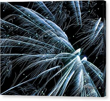 Canvas Print featuring the photograph Blue Fairy Fireworks #0710_3 by Barbara Tristan