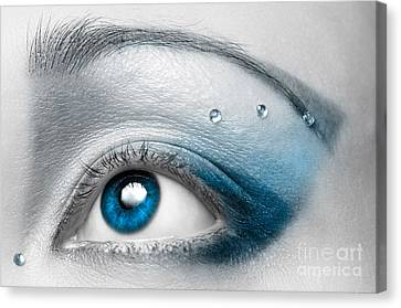 Blue Female Eye Macro With Artistic Make-up Canvas Print by Oleksiy Maksymenko